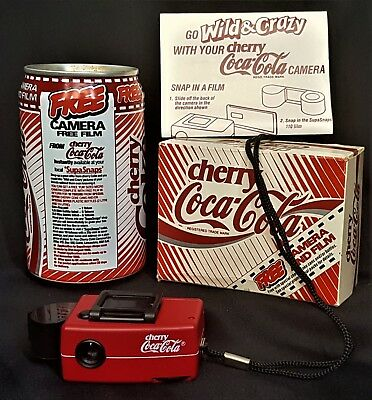1980's Coca Cola Can England UK Cherry Coke Cans (EMPTY) With Promotion Camera