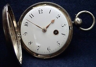 CALEB ELISHA Good Working Solid Silver Hunter Verge Fusee Pocket Watch 1828