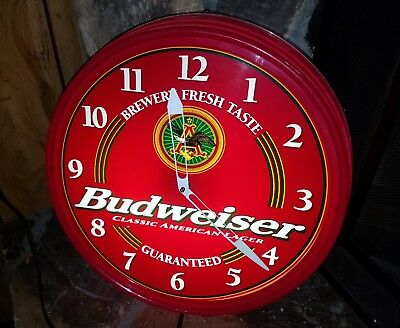 "Vintage Budweiser Classic American Lager Advertising 18"" Lighted Clock/sign!!!"
