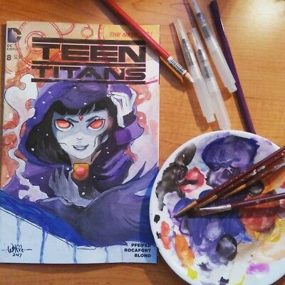 TEEN TITANS #8 ( Sketch Cover Art By Chris The Wolffe) DC New 52 - Free Shipping