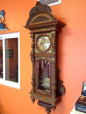 Antique Rare German Vienna Regulator Grand Sonnerie 3 Weight Wall Clock 1800s NR