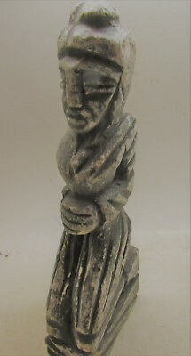 Ancient Bactrian Stone Female Idol Temple Icon Asia