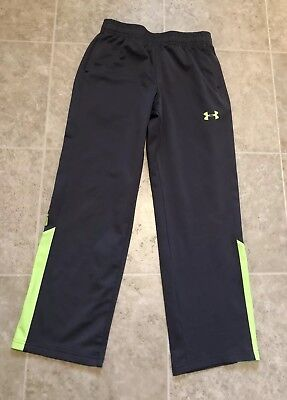 Under Armour Boys Youth Medium 10/12 Gray Neon Green Athletic Pants with Pockets