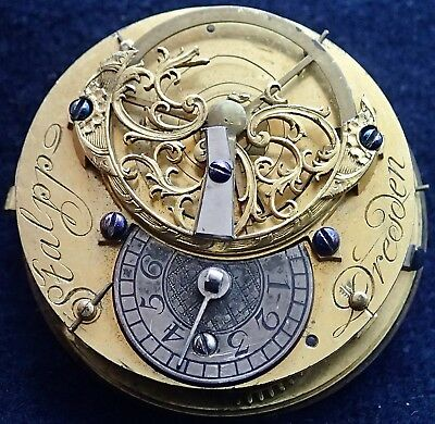 STALPP Dresden Fusee Verge Square Pillar Pocket Watch Movement circa 1775