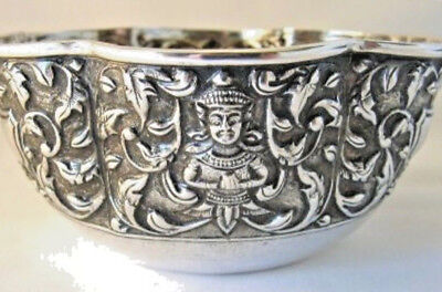 Interesting Silver Bowl Late 19th Century and of Eastern Origin - Burmese Style