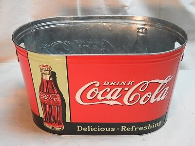 Coca Cola Coke Ice Bucket Large Oval Galvanized Metal Tin Party Tub Cooler
