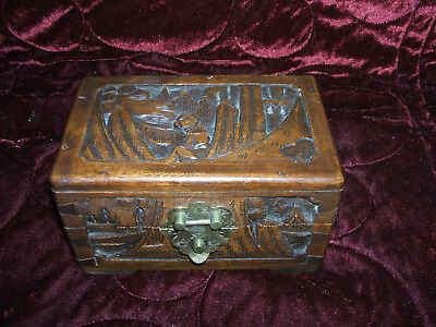 Delightful Miniature Carved Camphor Wood Chest