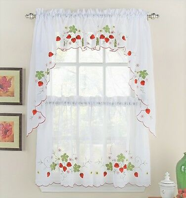 Strawberries Embroidered Kitchen Curtain Collection - Brand NEW