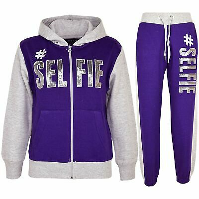 Kids Girls Tracksuit Designer's #Selfie Purple & Grey Top & Bottom Jogging Suits
