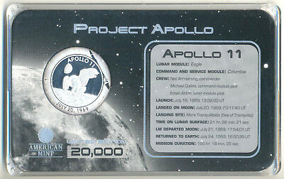 USA American Mint Medaille z. 40th Anniversary Apollo 11 Mission Limit. Edition