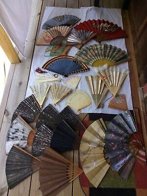 Antique Old Japanese Chinese Silk & Paper Fans Mixed Lot some for Repairs