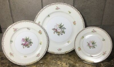 Meito Japan V2070 Fine China Place Setting 3 Pieces Floral Swags Vintage