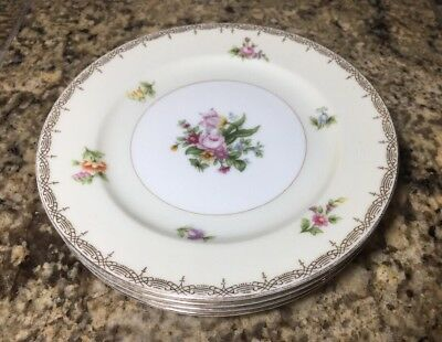 Meito Japan V2070 Fine China Bread Butter Plates 4 Total Floral Swags Vintage