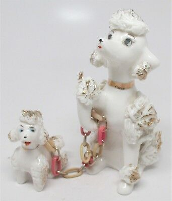 Vintage Spaghetti Trim White Poodle Family Mother & 1 Puppy Sitting - Dabs Japan