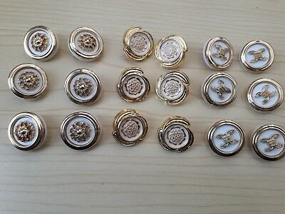 New - Ornate Design White/Gold  2 cm Shank Buttons Cardigan Dress Jacket Craft