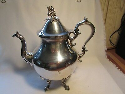 Antique Birmingham Silver On Copper Tea Pot With Flower Lid Stamped 12 Cup Size