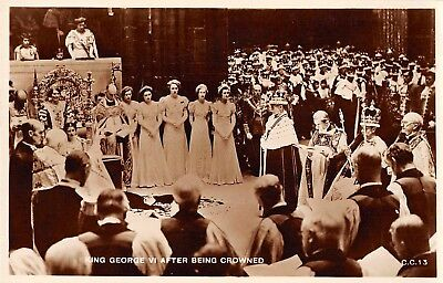 England view of King George VI after being crowned real photo pc (Z50532)