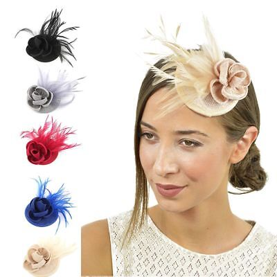 New Flower Hair Clip Feather Small Top Hat Clip On Fascinator Wedding Race Party