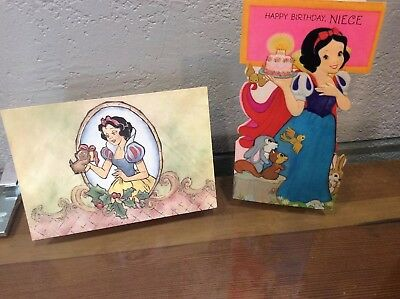 2~ Vintage Walt Disney Snow White Greeting Bday Christmas Cards Written Inside