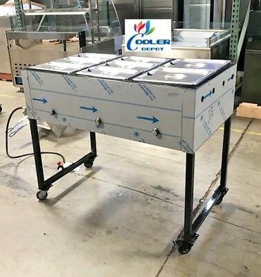 """NEW 43"""" Catering Food Steamer Warmer Mobile Taco Cart 3 Burner for Propane Use"""