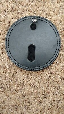 Round Leather Badge Holder with Belt Clip