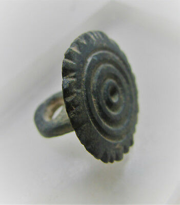 Circa 400-500Ad Late Roman Period Bronze Seal Pendant With Ring And Dot Motifs