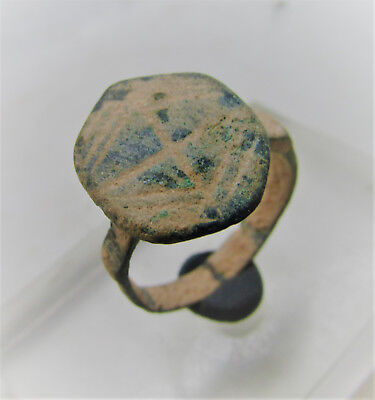 Scarce Byzantine Period Bronze Templars Ring With Cross On Bezel