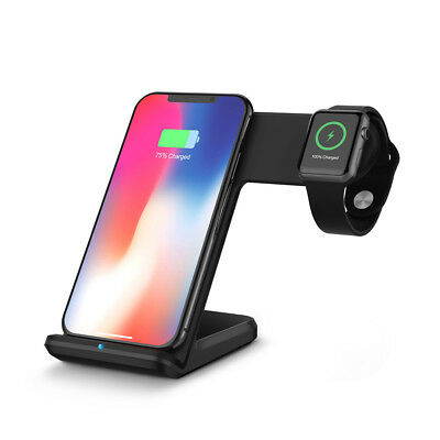 Qi Wireless Charger Fast Charging Station Stand Dock Pad 2in1 For Watch/iPhone X