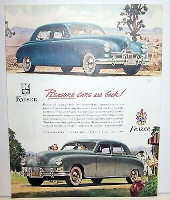 Kaiser Frazier ad Blue and Grey cars Large ad Pleasure cars are Back! 1946