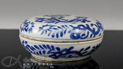 Antique Chinese Blue And White Porcelain Covered Box - Kangxi Period