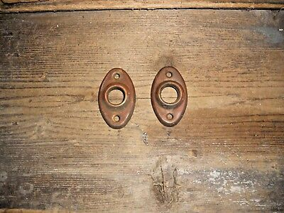 Vtg Set Brass Shabby Door Knob Backplate Rosettes/escutcheons Art/craft/jewelry