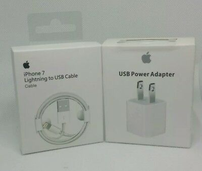 New Wall Charger Adapter Cube Plug & 1m Lightning USB Cable Set for Apple iPhone