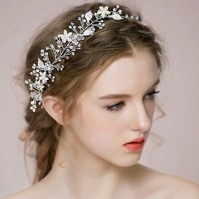 Head Piece Photography Tool Tiara White Leaf Crystal Bride Hairbands Pearl