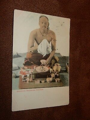 Early postcard - Sandhya Morning prayer - Hindu priest - Dvija