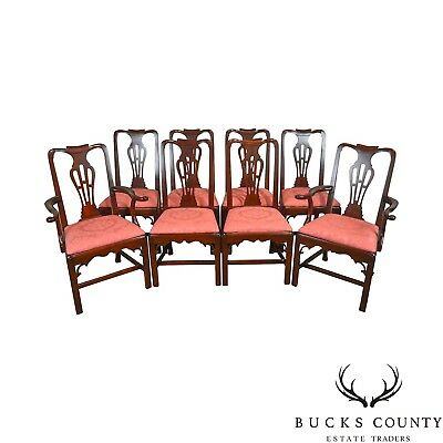 Statton Old Towne Solid Cherry Chippendale Style Set of 8 Dining Chairs