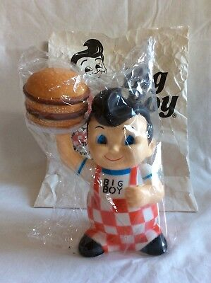 Vintage 80's Big Boy Restaurant Vinyl Doll Coin Bank Holding Burger New in Bag