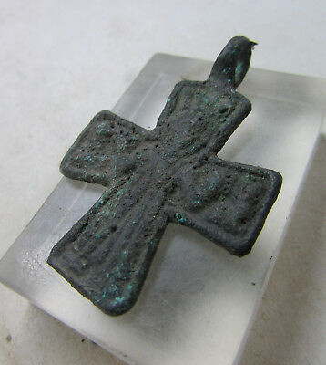 Ancient Byzantine Bronze Crusaders Cross Amulet With Saint Depiction