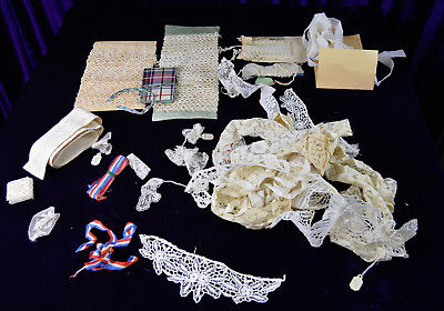 Lot of Antique Crochet Trims Lace & Other Sewing Related Items