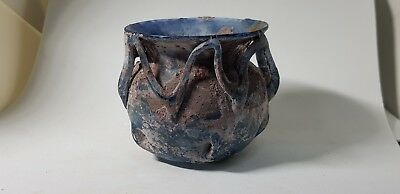 Roman Blue Glass Vessel with Trail  4th century AD