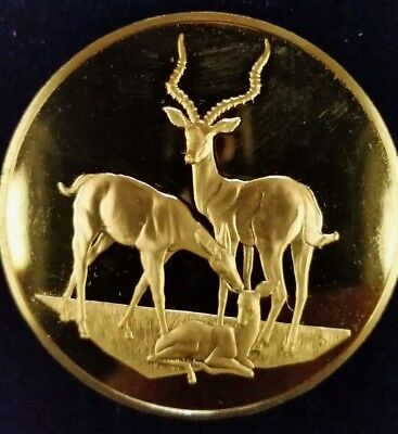 East African Wild Life Society 2 oz Bronze Medal Impalas -