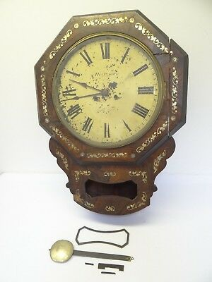 Rare Mother of Pearl Inlay Antique  Wood Cardiff Victorian Drop Dial Wall Clock