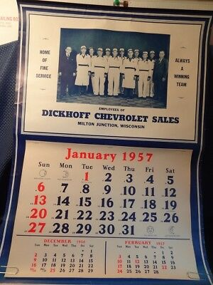 GENUINE Original 1957 Chevrolet Calendar - Dickhoff Milton Junction, Wisconsin