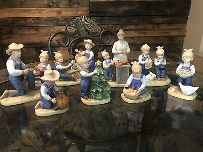 RARE Homco Denim Days Lot Of 7 5563 Vintage Ceramic Western Country Figures Home