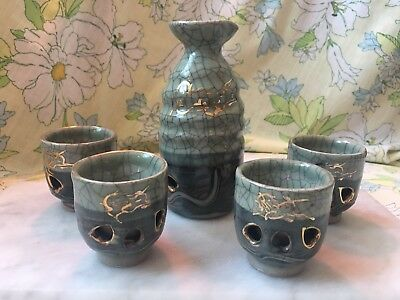 Vintage Green Somayaki Japanese Tea Saki Set of 4 Double Wall Cups Japan
