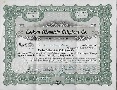 Lookout Mountain Telephone Company 1916 Old Stock Certificate
