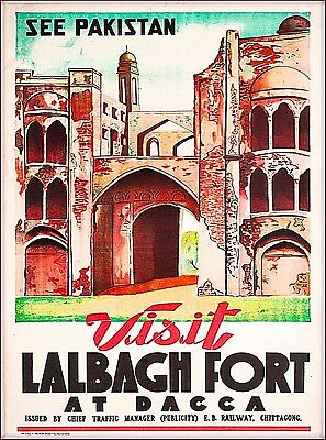 See Pakistan Lalbagh Fort at Dacca Vintage Travel Advertisement Art Poster Print