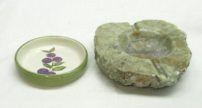 Two Vintage Ashtrays - One Is Heavy Alabaster And The Other Is Ceramic
