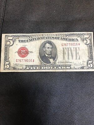 1928 series $5 Five Dollar Red Seal Note Bill US Currency