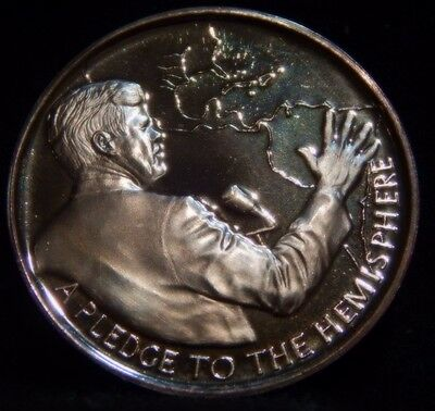 "John F. Kennedy Medal .999 Silver ""Pleage to the Hemisphere""  39mm  ...RC1438"