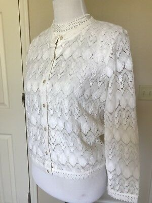 Vintage 60s Lacy Crochet Top Cardigan Twin Set White Eyelet Sz Xs/S Lovely!